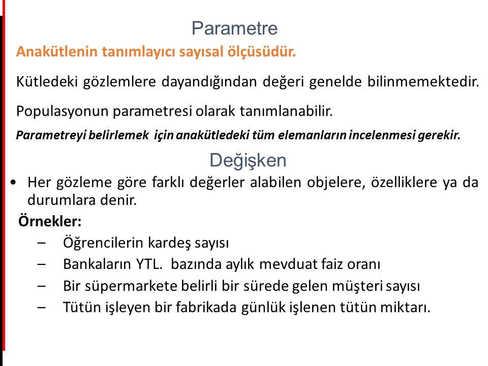Parametre Değişken Anakütlenin tanımlayıcı sayısal ölçüsüdür.