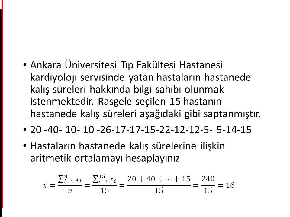 Ankara Üniversitesi Tıp Fakültesi Hastanesi kardiyoloji servisinde yatan hastaların hastanede kalış süreleri hakkında bilgi sahibi olunmak istenmektedir. Rasgele seçilen 15 hastanın hastanede kalış süreleri aşağıdaki gibi saptanmıştır.