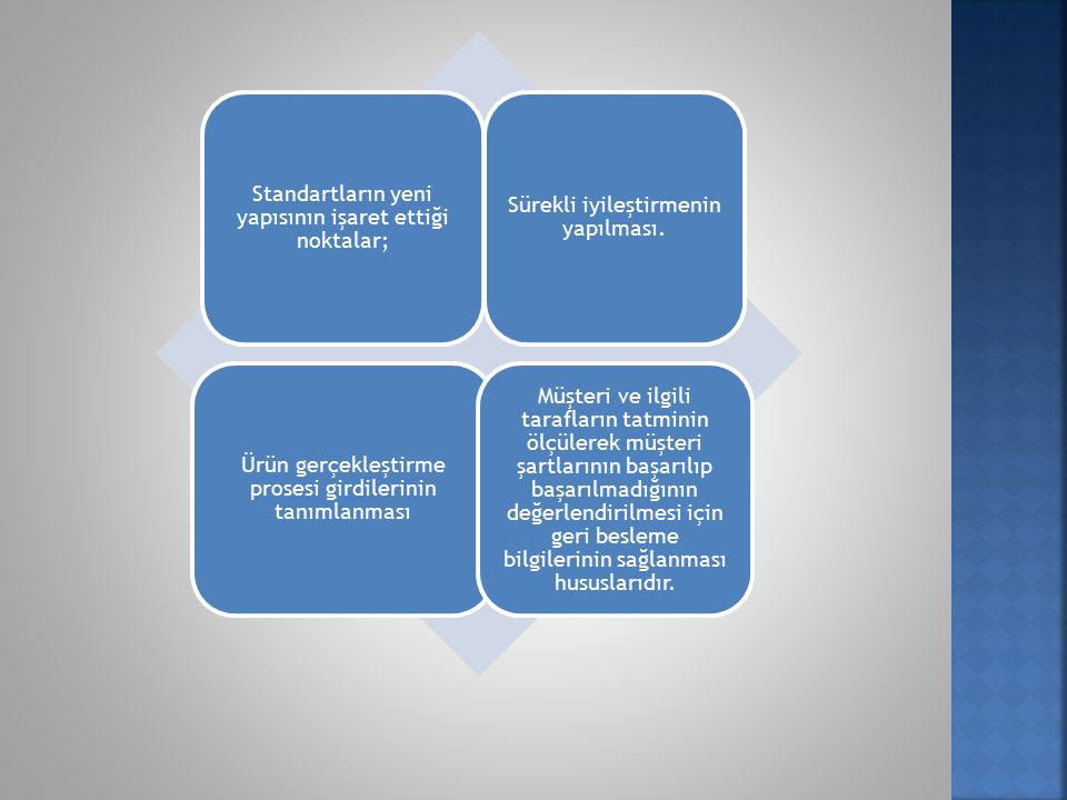 Standartların yeni yapısının işaret ettiği noktalar;