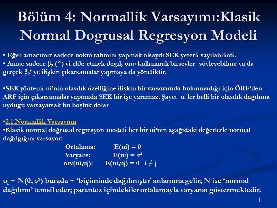 Bölüm 4: Normallik Varsayımı:Klasik Normal Dogrusal Regresyon Modeli