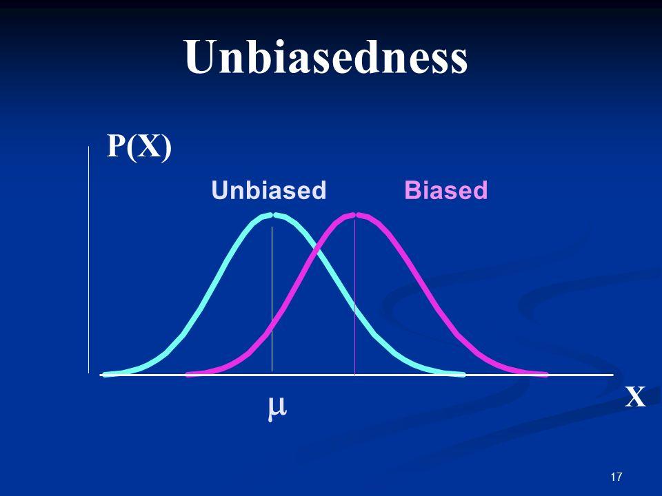 Unbiasedness P(X) Unbiased Biased m X