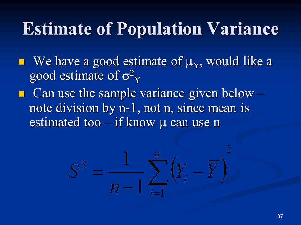 Estimate of Population Variance
