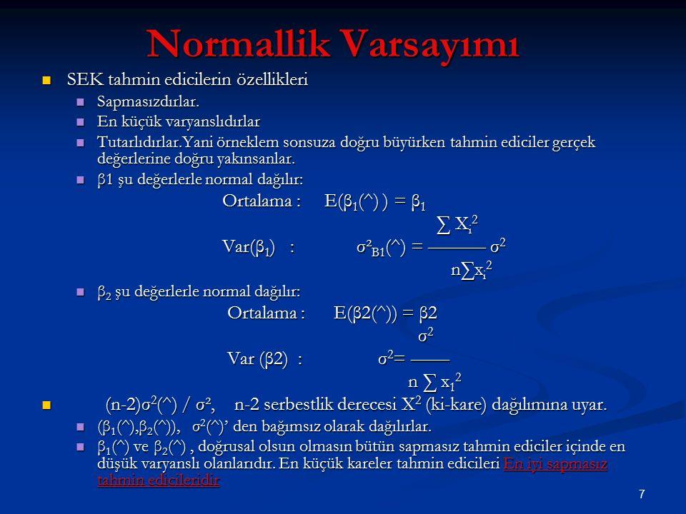 Normallik Varsayımı SEK tahmin edicilerin özellikleri