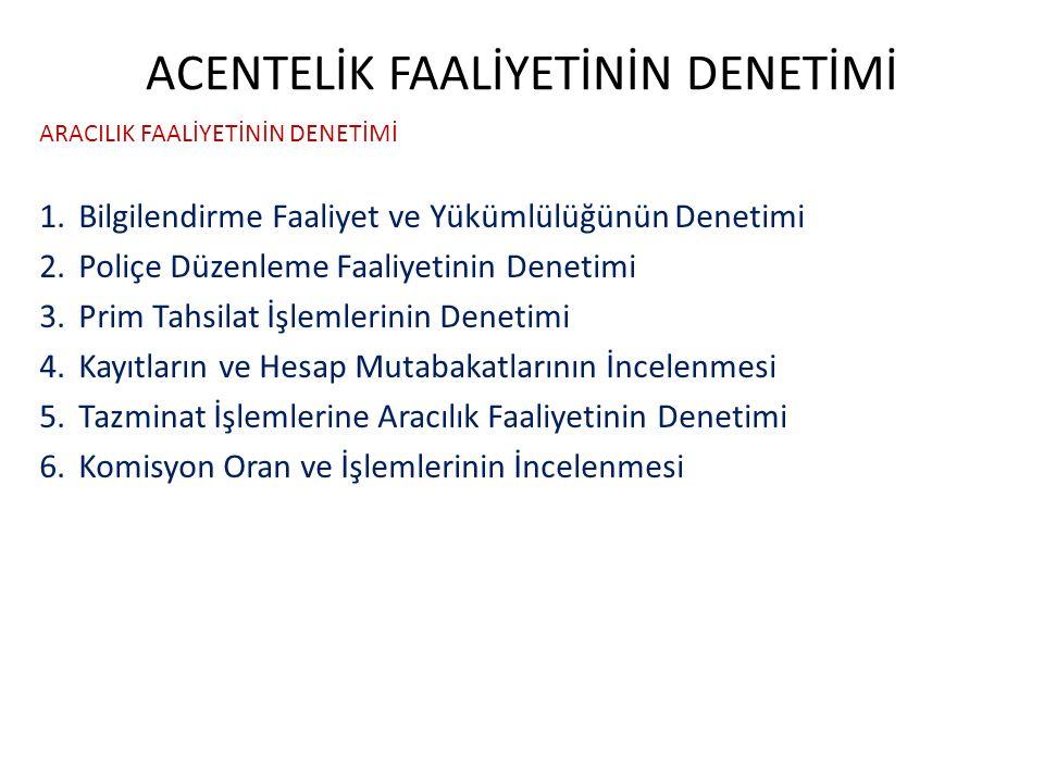 ACENTELİK FAALİYETİNİN DENETİMİ