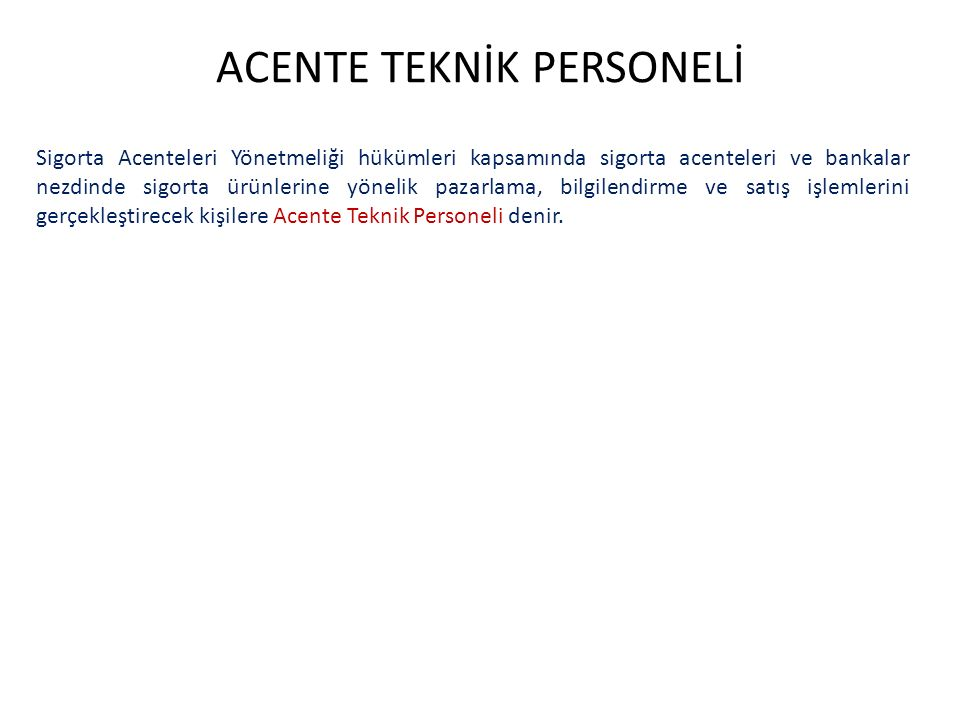 ACENTE TEKNİK PERSONELİ