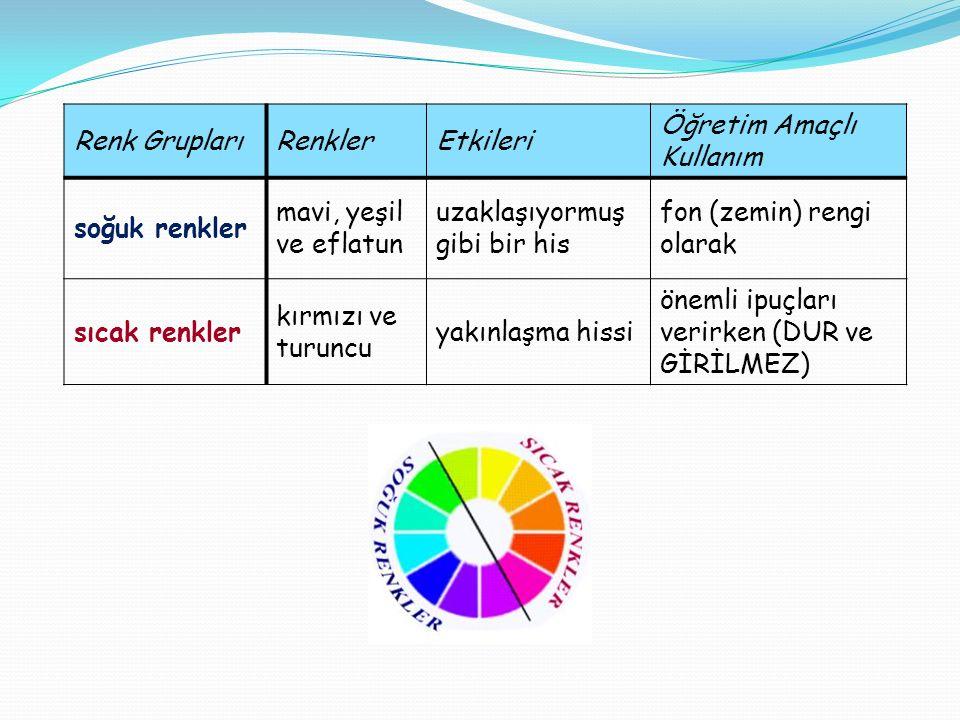 Renk Grupları Renkler. Etkileri. Öğretim Amaçlı Kullanım. soğuk renkler. mavi, yeşil ve eflatun.