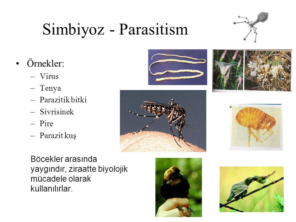Simbiyoz - Parasitism Örnekler: Virus Tenya Parazitik bitki Sivrisinek