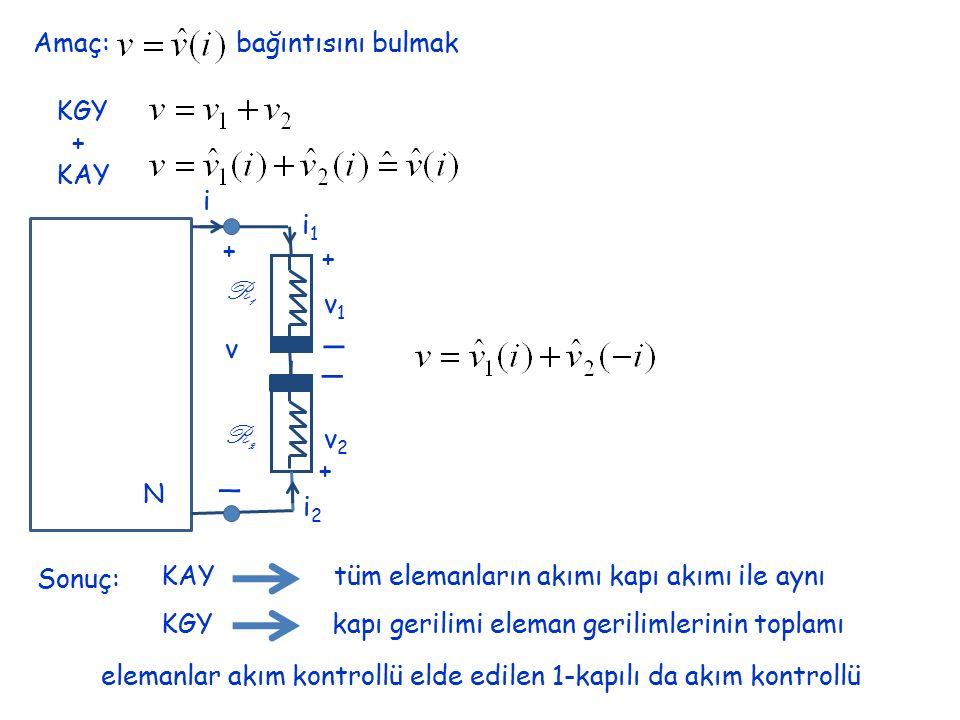 _ Amaç: bağıntısını bulmak KGY + KAY i i1 + R1 v1 v R2 v2 N i2 Sonuç: