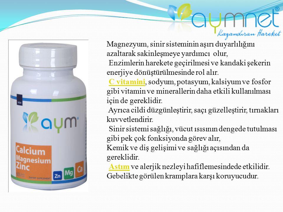 Magnezyum, sinir sisteminin aşırı duyarlılığını azaltarak sakinleşmeye yardımcı olur,