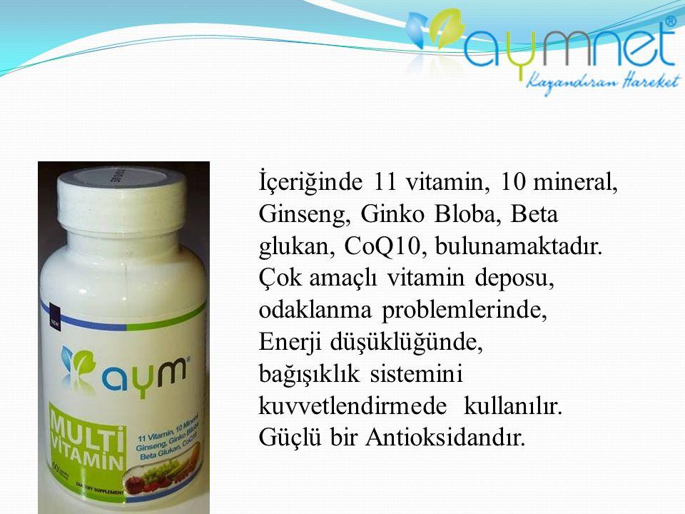 İçeriğinde 11 vitamin, 10 mineral, Ginseng, Ginko Bloba, Beta glukan, CoQ10, bulunamaktadır. Çok amaçlı vitamin deposu, odaklanma problemlerinde,