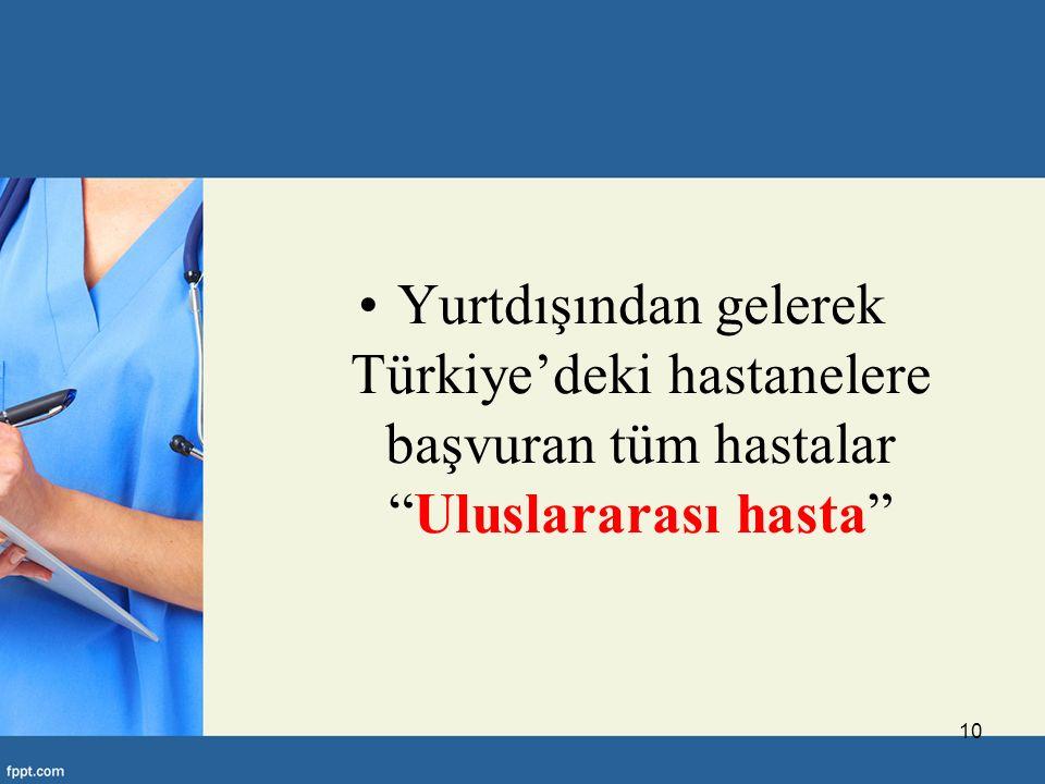 Yurtdışından gelerek Türkiye'deki hastanelere başvuran tüm hastalar Uluslararası hasta
