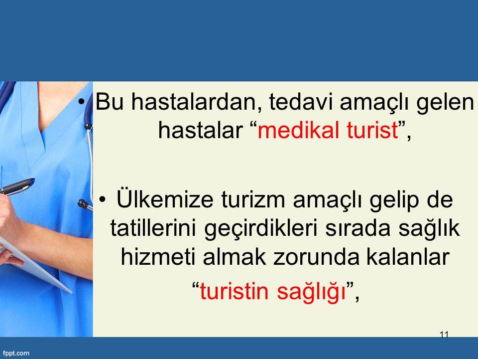 Bu hastalardan, tedavi amaçlı gelen hastalar medikal turist ,