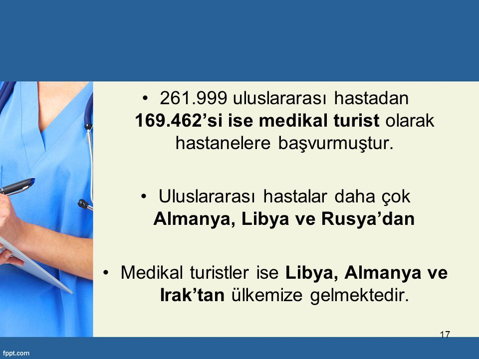Uluslararası hastalar daha çok Almanya, Libya ve Rusya'dan
