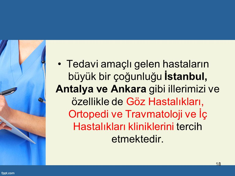Tedavi amaçlı gelen hastaların büyük bir çoğunluğu İstanbul, Antalya ve Ankara gibi illerimizi ve özellikle de Göz Hastalıkları, Ortopedi ve Travmatoloji ve İç Hastalıkları kliniklerini tercih etmektedir.