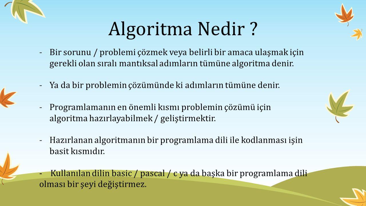 Algoritma Nedir Bir sorunu / problemi çözmek veya belirli bir amaca ulaşmak için gerekli olan sıralı mantıksal adımların tümüne algoritma denir.