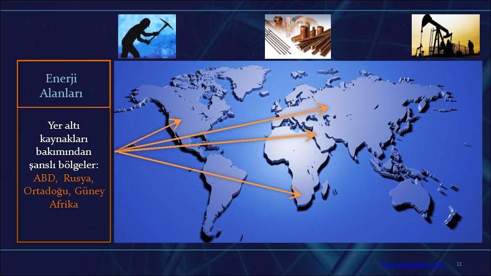 Enerji Alanları Yer altı kaynakları bakımından şanslı bölgeler: