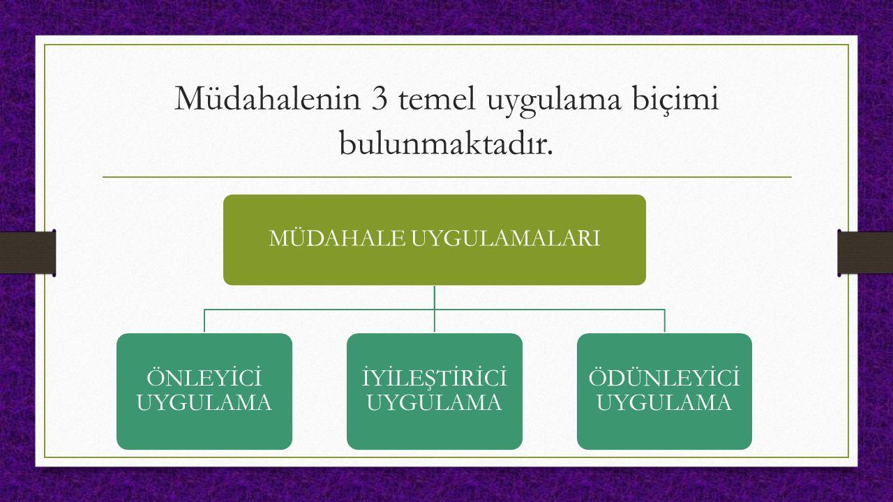 Müdahalenin 3 temel uygulama biçimi bulunmaktadır.
