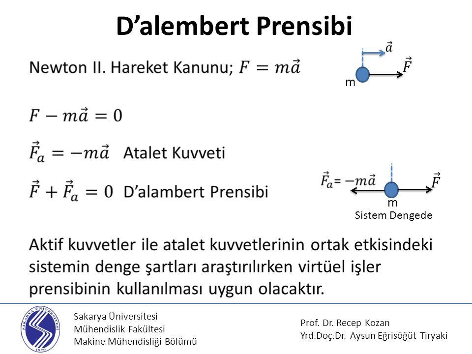 D'alembert Prensibi m m Sistem Dengede Sakarya Üniversitesi