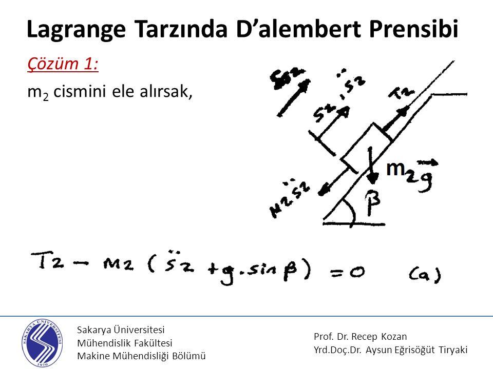 Lagrange Tarzında D'alembert Prensibi