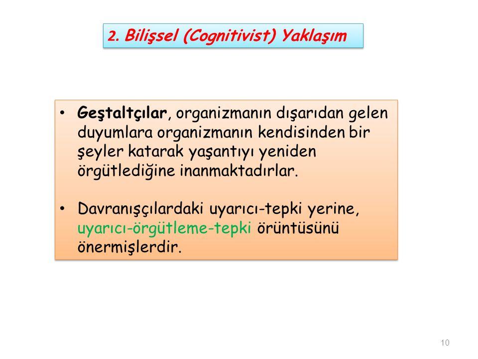 2. Bilişsel (Cognitivist) Yaklaşım