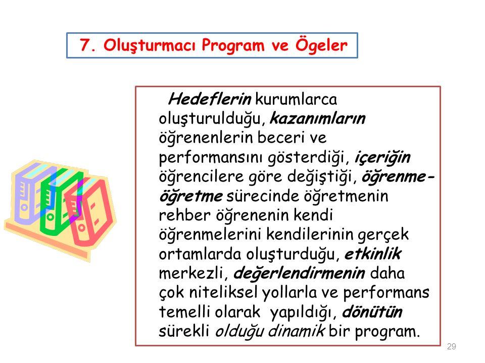 7. Oluşturmacı Program ve Ögeler