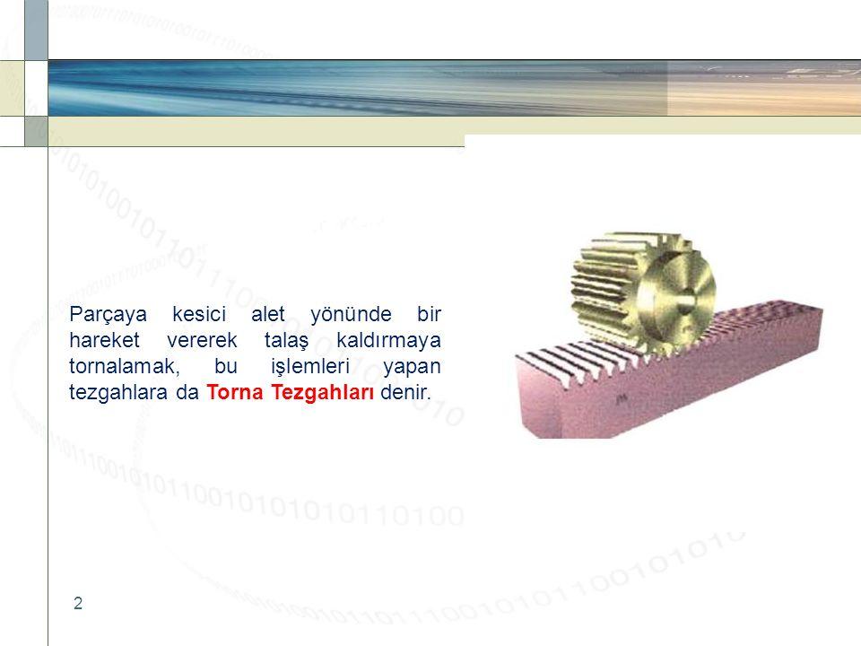Parçaya kesici alet yönünde bir hareket vererek talaş kaldırmaya tornalamak, bu işlemleri yapan tezgahlara da Torna Tezgahları denir.