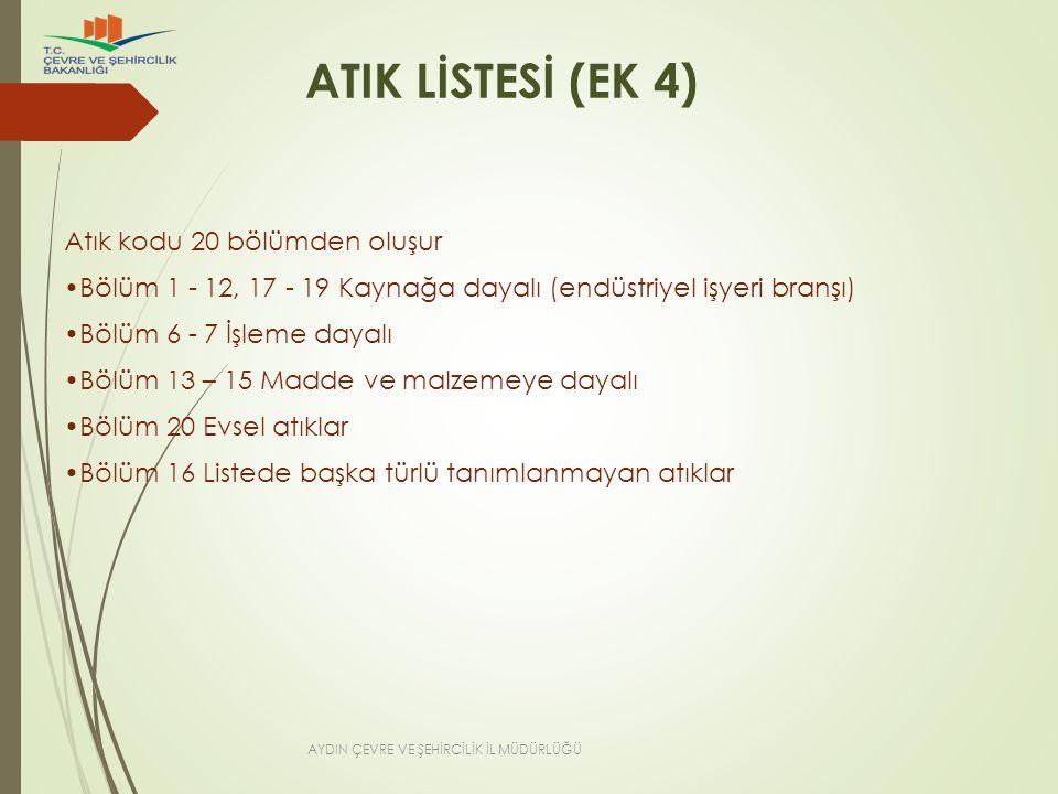 ATIK LİSTESİ (EK 4) Atık kodu 20 bölümden oluşur