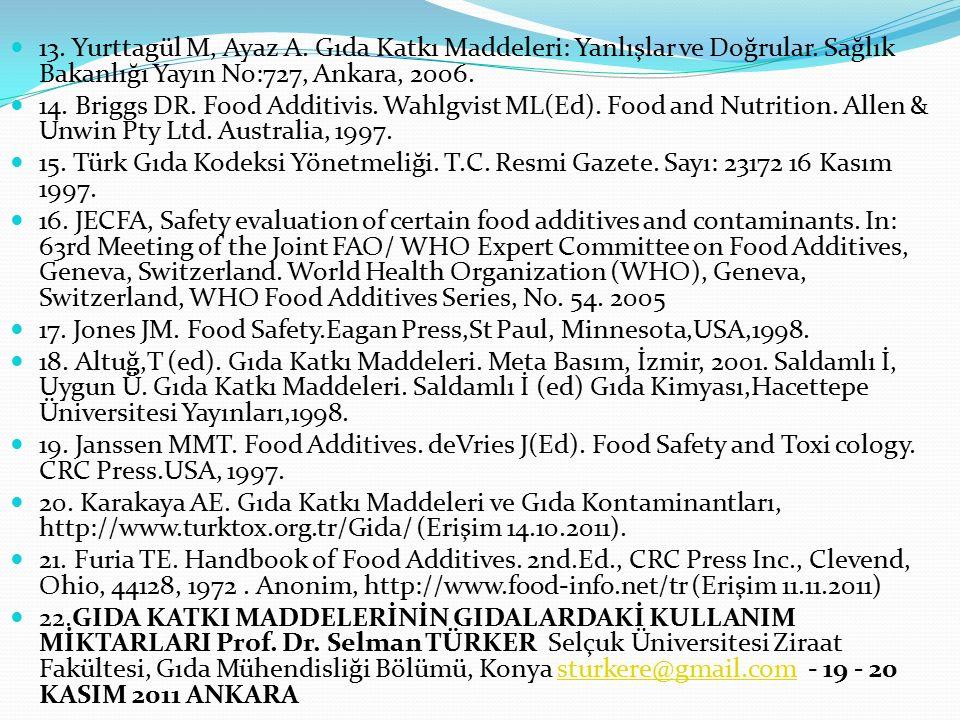 13. Yurttagül M, Ayaz A. Gıda Katkı Maddeleri: Yanlışlar ve Doğrular