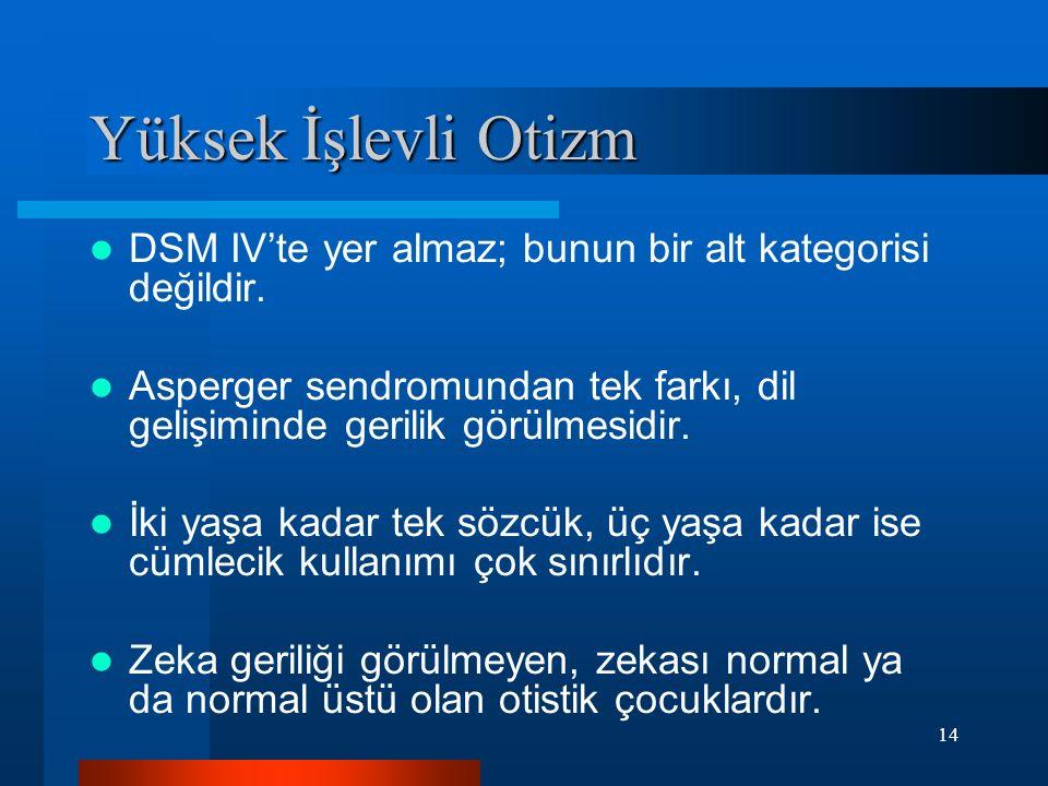 Yüksek İşlevli Otizm DSM IV'te yer almaz; bunun bir alt kategorisi değildir. Asperger sendromundan tek farkı, dil gelişiminde gerilik görülmesidir.