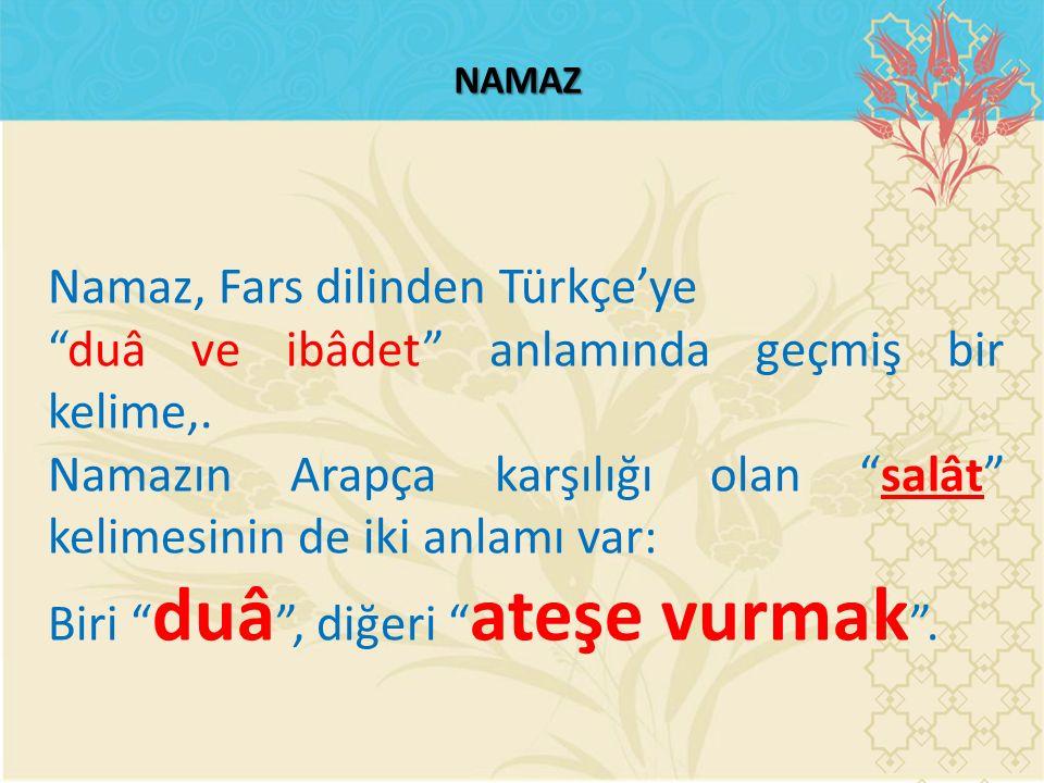 Namaz, Fars dilinden Türkçe'ye