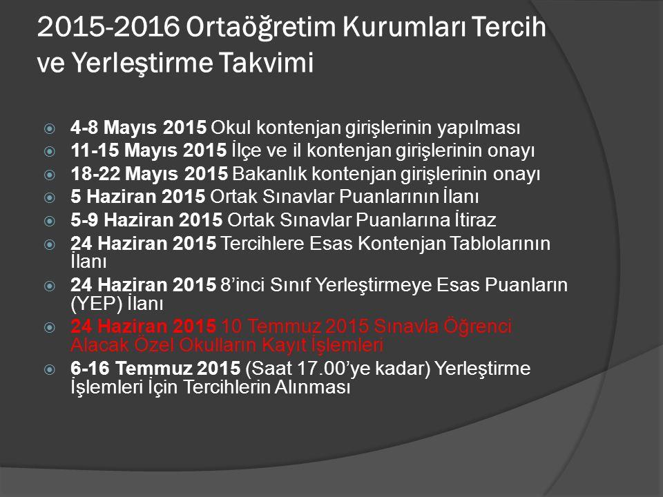 2015-2016 Ortaöğretim Kurumları Tercih ve Yerleştirme Takvimi