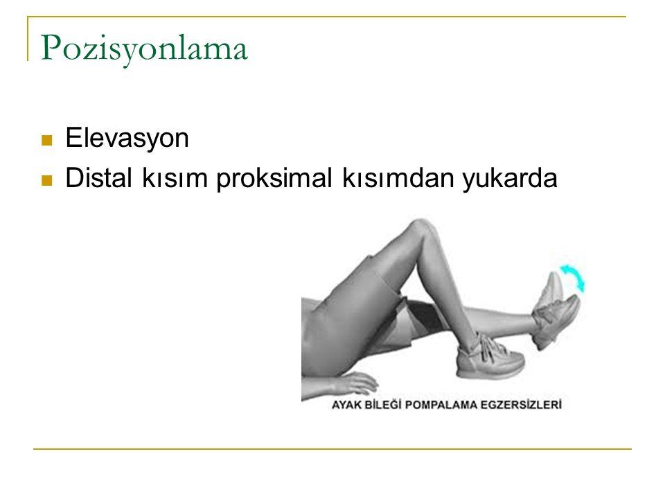 Pozisyonlama Elevasyon Distal kısım proksimal kısımdan yukarda