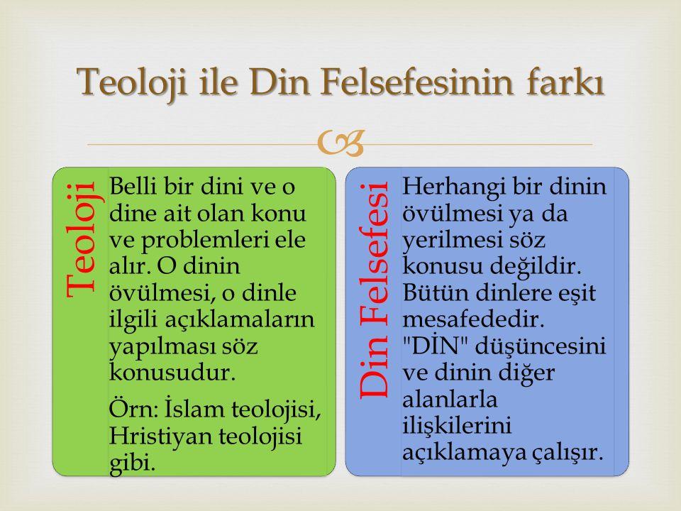 Teoloji ile Din Felsefesinin farkı
