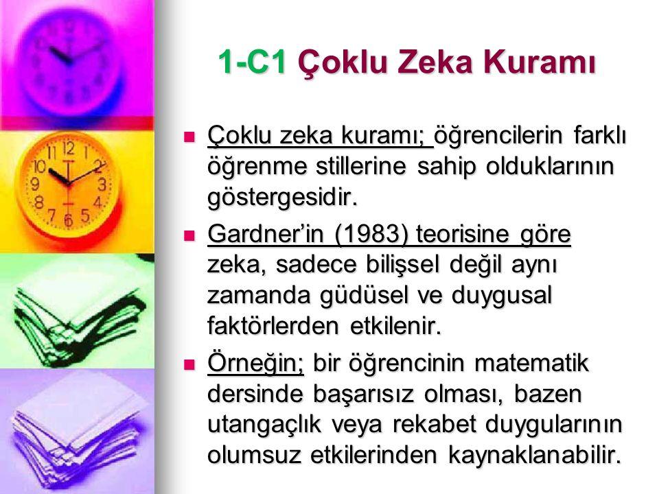1-C1 Çoklu Zeka Kuramı Çoklu zeka kuramı; öğrencilerin farklı öğrenme stillerine sahip olduklarının göstergesidir.
