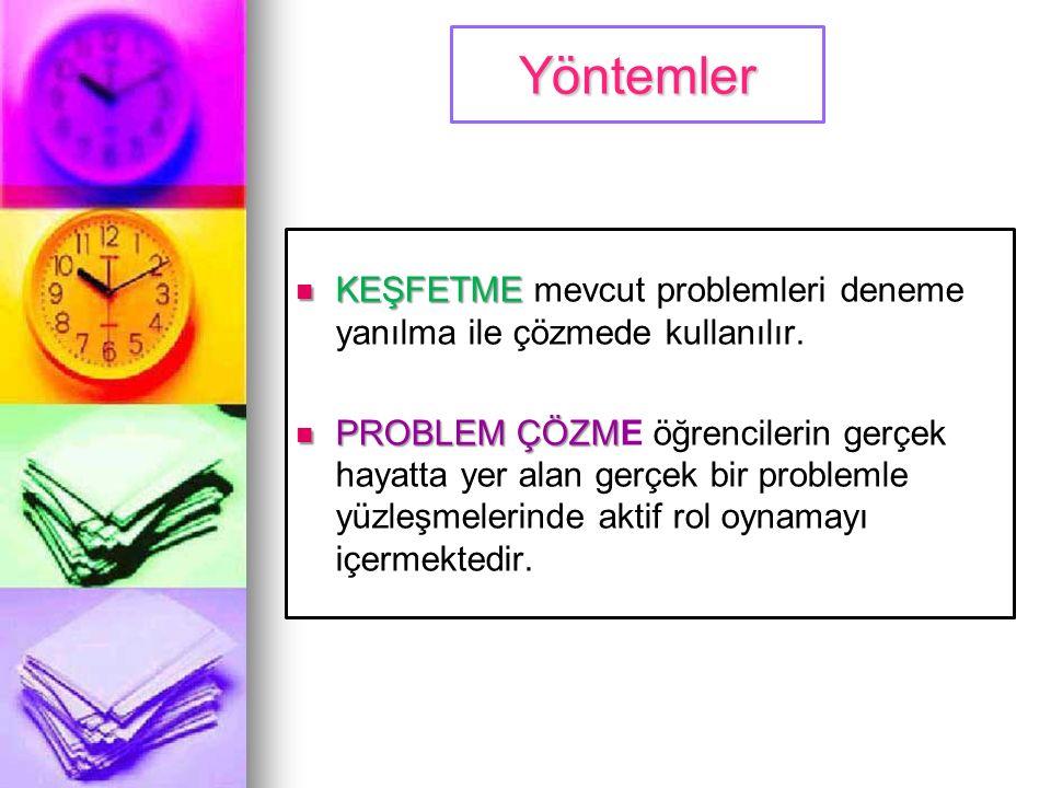Yöntemler KEŞFETME mevcut problemleri deneme yanılma ile çözmede kullanılır.
