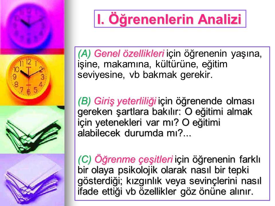 I. Öğrenenlerin Analizi