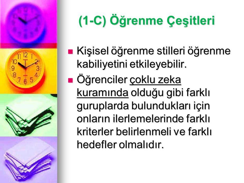 (1-C) Öğrenme Çeşitleri