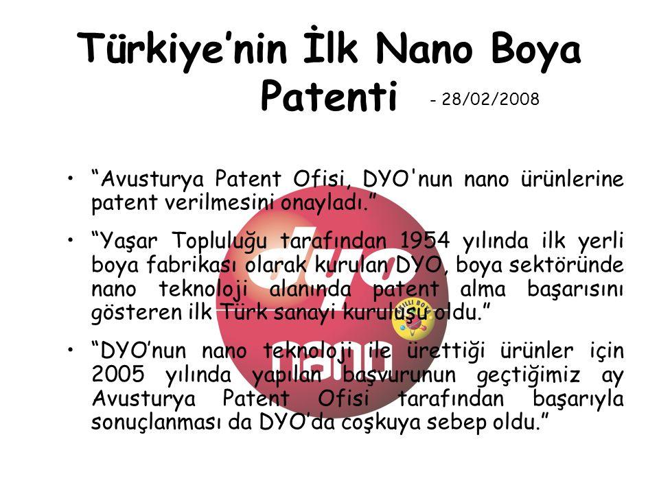 Türkiye'nin İlk Nano Boya Patenti