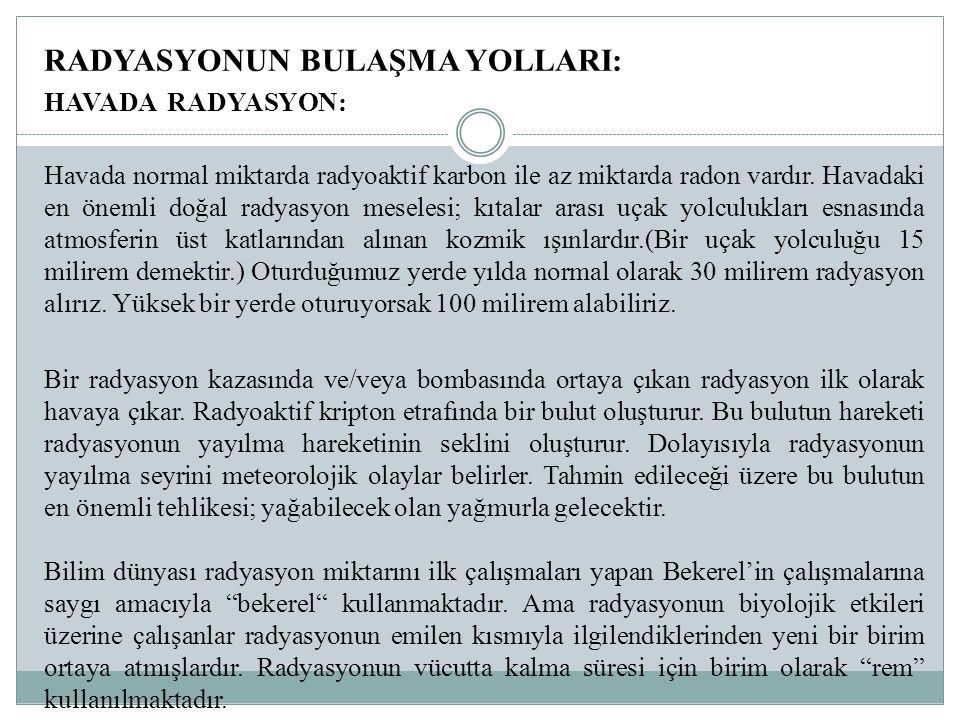 RADYASYONUN BULAŞMA YOLLARI: