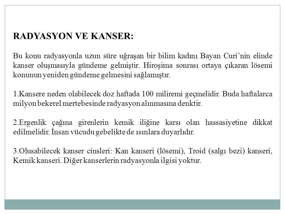 RADYASYON VE KANSER: