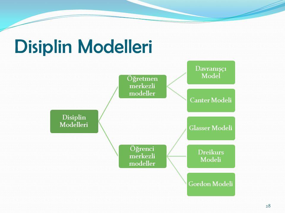 Disiplin Modelleri Disiplin Modelleri Öğretmen merkezli modeller