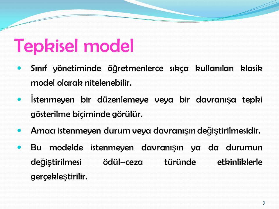 Tepkisel model Sınıf yönetiminde öğretmenlerce sıkça kullanılan klasik model olarak nitelenebilir.