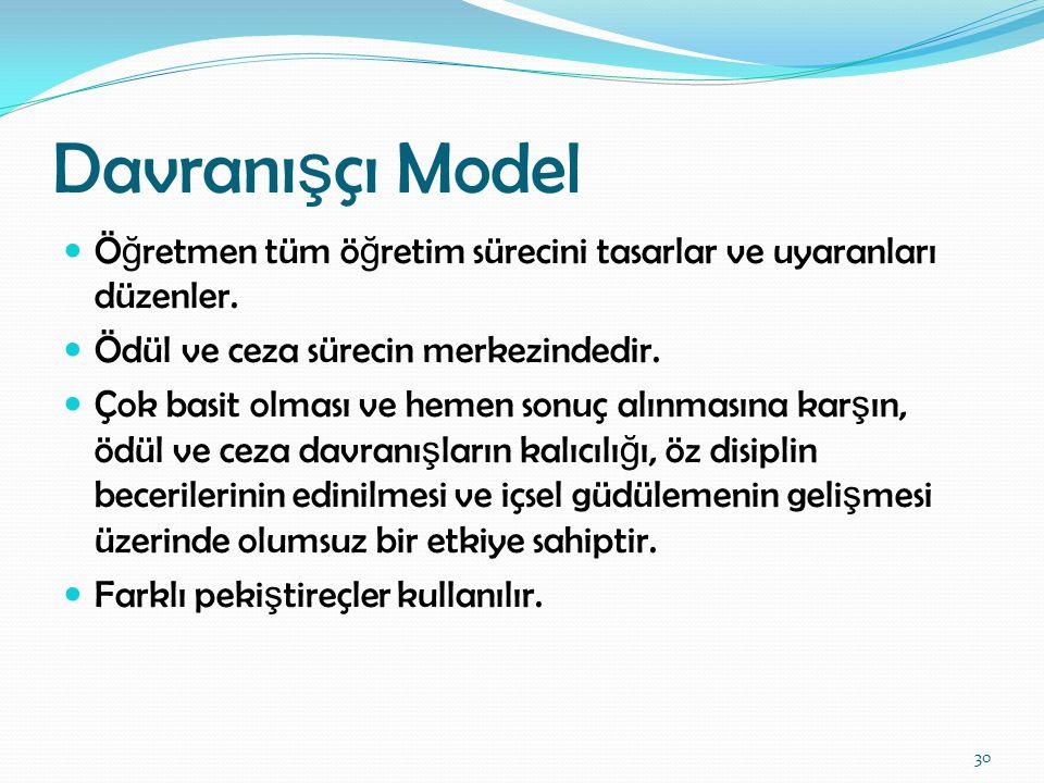 Davranışçı Model Öğretmen tüm öğretim sürecini tasarlar ve uyaranları düzenler. Ödül ve ceza sürecin merkezindedir.