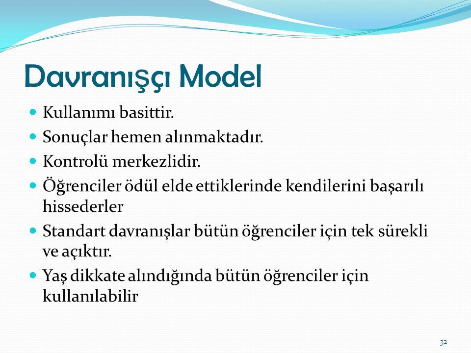 Davranışçı Model Kullanımı basittir. Sonuçlar hemen alınmaktadır.
