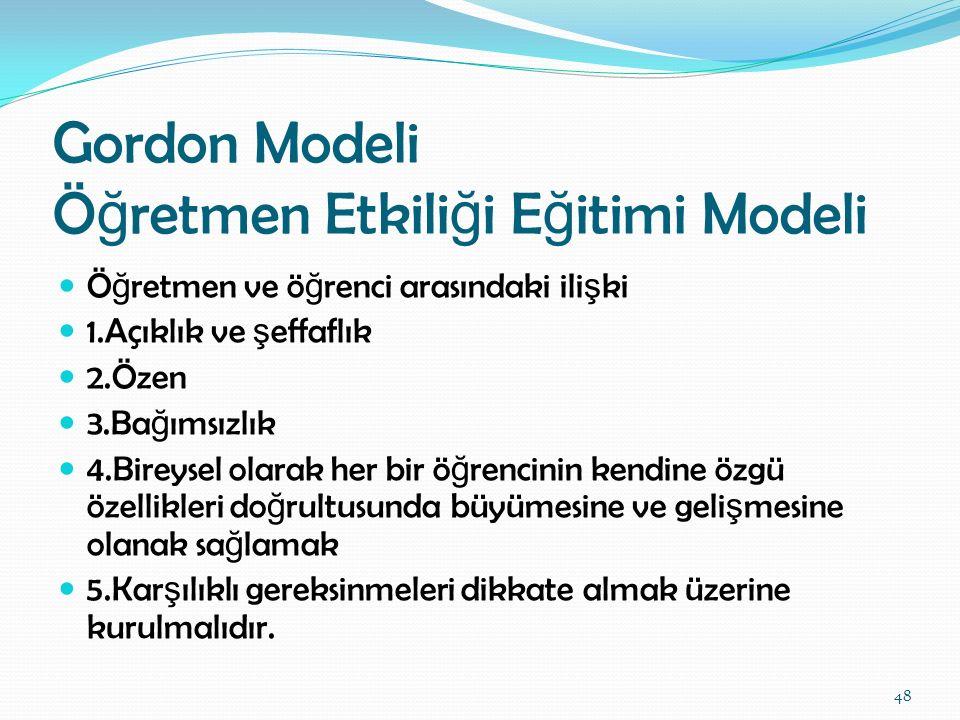 Gordon Modeli Öğretmen Etkiliği Eğitimi Modeli
