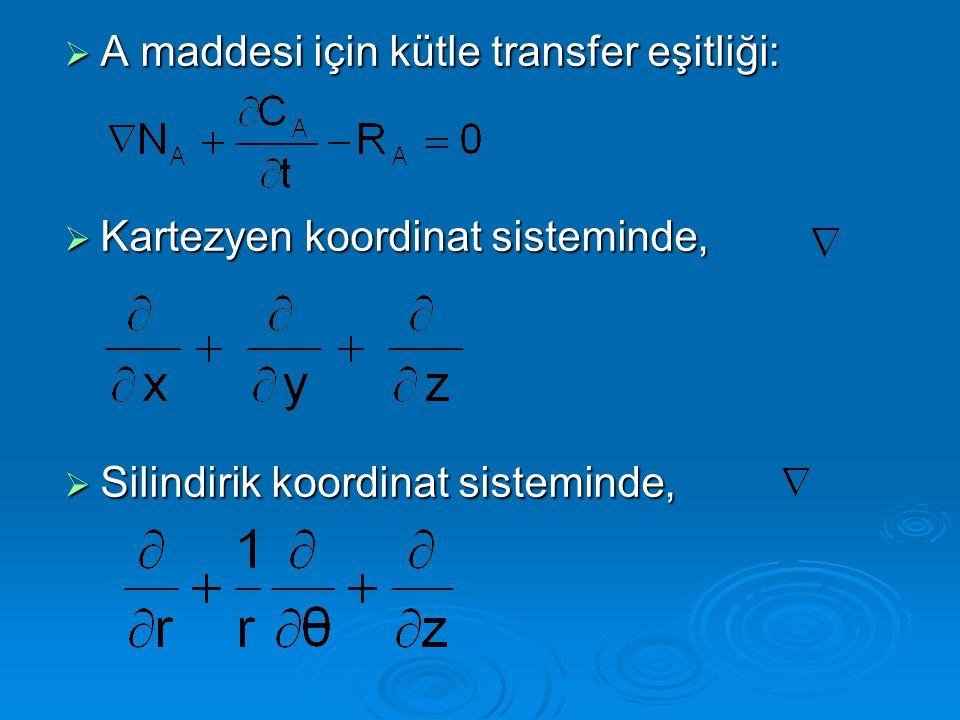 A maddesi için kütle transfer eşitliği: