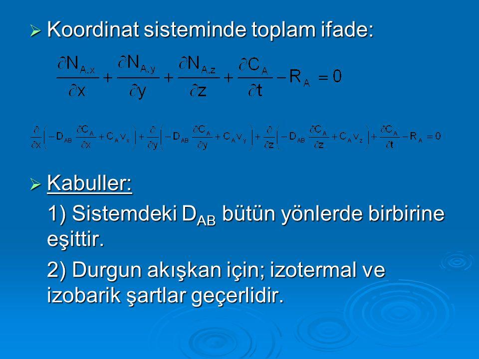 Koordinat sisteminde toplam ifade: