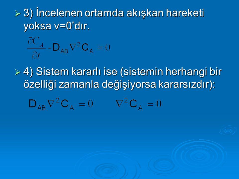 3) İncelenen ortamda akışkan hareketi yoksa v=0'dır.