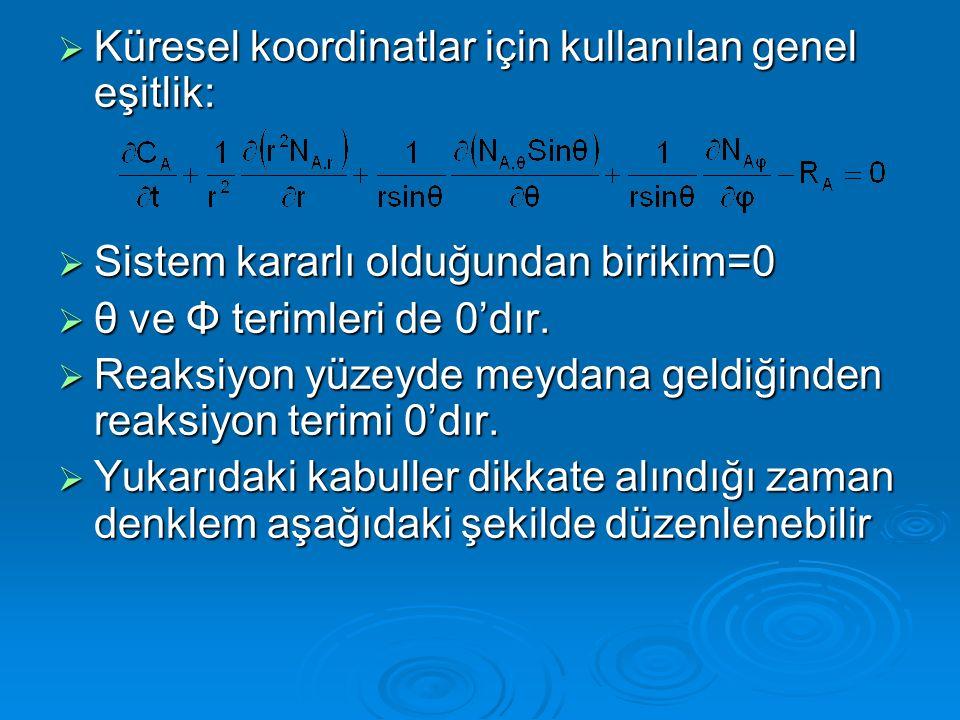 Küresel koordinatlar için kullanılan genel eşitlik:
