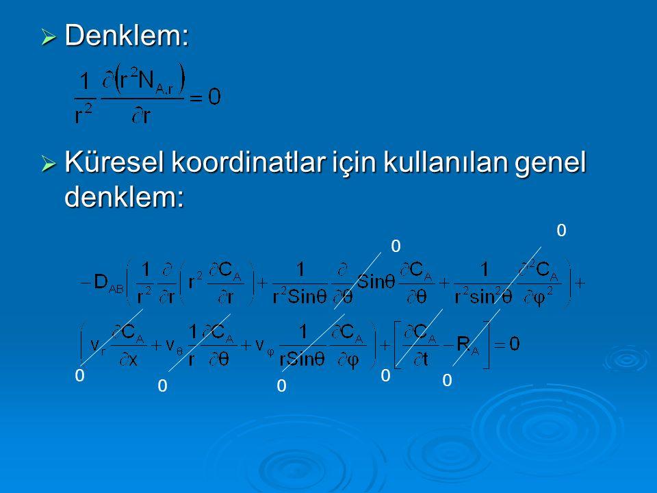 Denklem: Küresel koordinatlar için kullanılan genel denklem: